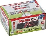 fischer DUOPOWER 6 x 30 LD - Universaldübel für eine Vielzahl von Baustoffen - Allzweckdübel für Leuchten, Bewegungsmelder, Hausnummern, Duschvorhangstangen uvm. - 100 Stück - Art.-Nr. 535453