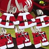 StillCool Weihnachten Bestecktasche Taschen Tischdekoration 6pcs Sankt-Klage Weihnachten Dekoration Tischdeko Besteck Kostüm Kleine Hosen und Kleidung Besteck-Sets - 2