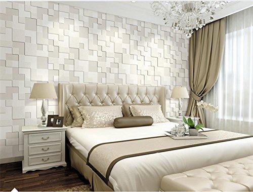 H&M Non tessuto moderna semplice mosaico 3D solido colore carta da parati salotto ristorante TV parete carta da parati carta da parati 0.53m * 10m-Pearl Bianco / giallo chiaro / azzurro , pearl white