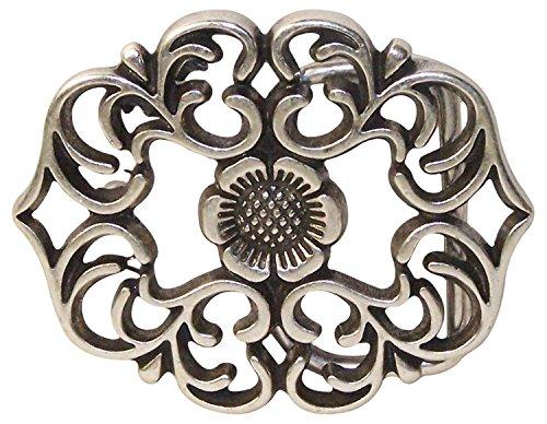 Fronhofer Gürtelschnalle florales Muster, Damen Buckle Schnalle Blumenmuster Silber, 3,5 cm, 18329, Farbe:Silber, Größe:One Size