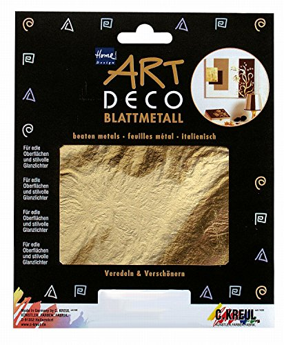 Kreul 99421 - Art Deco Blattmetall, zum Veredeln von Holz, Papier, Leinwand, Kartonage, Styropor, Kunststoff, Wachs, Keramik, Porzellan und vielem mehr, 25 Blatt je ca. 14 x 14 cm, gold - Art Deco Porzellan