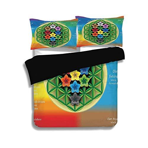LIS HOME Schwarzer Bettbezug Set, Abstrakt, Baum des Lebens Diagramm mit spirituellen Chakra und Universum Symbole Blumen Yoga Muster, Multicolor, dekorative 3 Stück Bettwäsche Set von 2 Pillow Shams -
