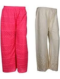 IndiStar Women Combo Pack (Pack Of 1 Georgette Pallazo With Astar And 1 Rayon Chikan Work Pallazo) - B078M5BZ78