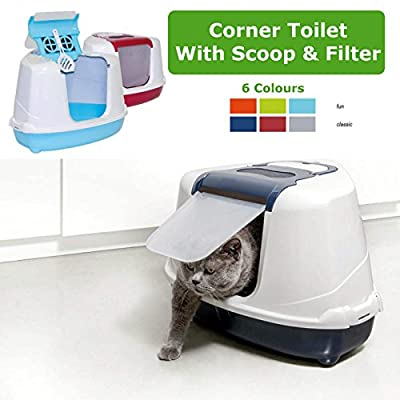 Dark Blue Corner Cat Flip Litter Tray 6 Colours Box Hooded Pan Toilet Loo Filter Scoop