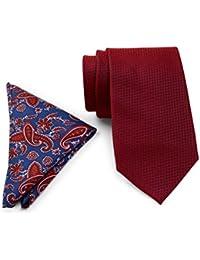 Tommy Hilfiger Men Grenadine Silk Tie & Paisley Pocket Square Boxed Set, OS (Red)