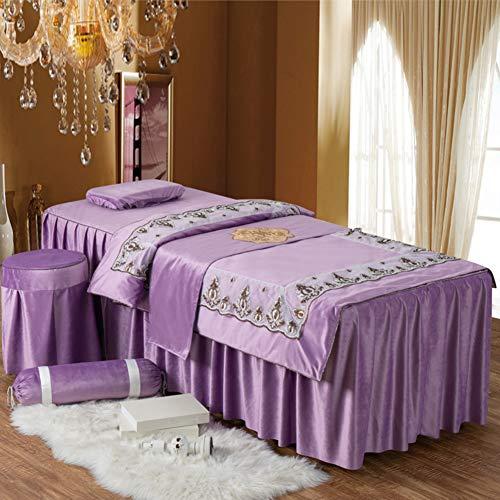 e Für Behandlungsliege,4-stück Satz Von Schönheitssalon Bettdecke,massageliege Auflage Set Laken Mit Loch-c 190x70cm(75x28inch) ()