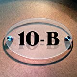Ovalica - House Number Sign - Frosted Ba...
