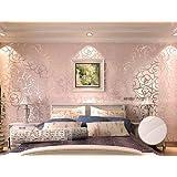 Qihang Rollo de papel pintado, alta calidad, diseño de rosas, para paredes de salón, dormitorio, etc. 0,53 x 10 m = 5,3㎡, vinilo, Rosa, 0,53 m de ancho y 10 m de largo, total: 5,3 metros cuadrados