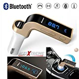 Allextreme Carg7 Bluetooth Transmitter Universal Wireless In-Car FM Adapter Car Kit With Hand Free Call/Music Player Supported/USB Car Charge (Golden)
