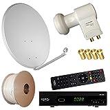 Bundle by netshop 25 Digitale Sat Anlage 80 cm + HD RECEIVER + 20m Kabel + HD Twin LNB = HD Komplett Set (3 Farben wählbar)