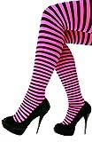 PartyXplosion – Collant a righe, di colore arancione, verde, rosa, giallo, nero, adatti per il carnevale, da donna e da ragazza