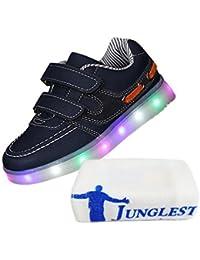 [Present:kleines Handtuch]Grau EU 27, mit Jungen Sportschuhe Athletische Kinder Bunte Schuhe weise M?dchen Sneakers LED mit