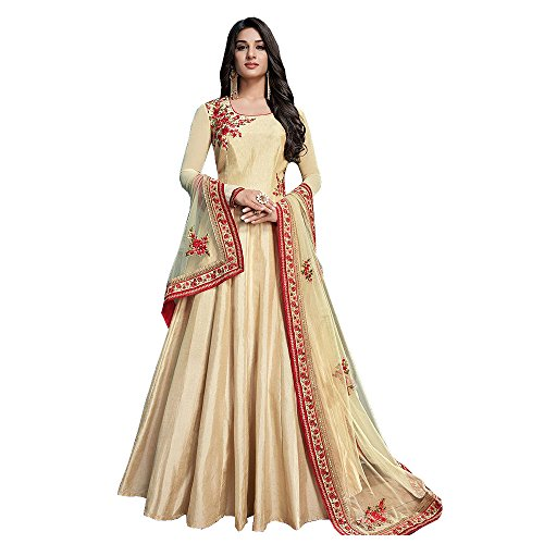 Like a diva Floral Embroidered Semi Stitched Dress Material Anarkali Suit In...