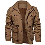 Riou Herren Bomberjacke Winterjacke Winter Baumwolle Militär Jacken Pocket Tactical Verdicken Übergangs Mäntel Draussen Windbreaker Hochwertig Fliegerjacke (L, Khaki)