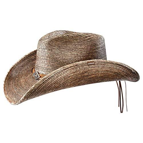 Stetson Monterrey Bay Westernstrohhut   Hut aus Stroh (Mais) Herren/Damen   Cowboyhut Made in USA   Biegbarer Rand   Strohhut Lederband   Herrenhut Frühjahr/Sommer   Sommerhut Natur M (56-57 cm)