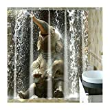 LOUMVE Polyester Wasser Elefant Duschvorhang Badezimmer mit Duschvorhangringe Antibakteriell Wasserdicht Badezimmer Duschvorhang 165 x 180 cm