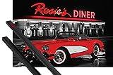 1art1® Póster + Soporte: Coches Antiguos Póster (91x61 cm) Rosie's Diner, Corvette Rojo Y 1 Lote De 2 Varillas Negras
