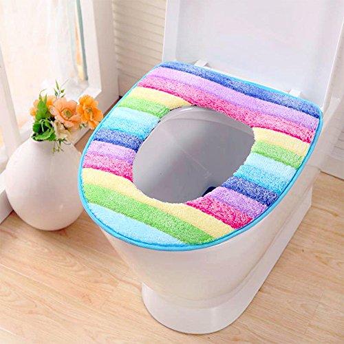 Sedile WC Copriwater Universale Cuscino in velluto a coste, Super caldo velluto a coste-Universale-lavabile in lavatrice Multicolor * 2 Pack