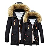 Yazidan Unisex Frau MäNner Outdoor Pelz Wollvlies Warm Winter Lange Kapuze Mantel Jacke Herrenmantel WäRmemantel Winterjacke Coat Wintermantel Herren Langen Warme Graben Outwear(Schwarz,XL)