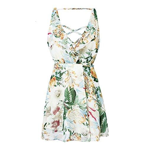 JUWOJIA Blumendruck Boho Frauen Chiffon Sommer Kleid mit V-Ausschnitt, Geraffte Strand Kleid, Hellgrün, M (Geraffte Knie Hoch)