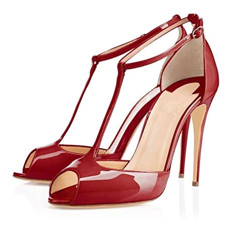 EDEFS Femmes Escarpins Talon Haut Aiguille Bride Cheville Chaussures Bout Ouvert Bordeaux