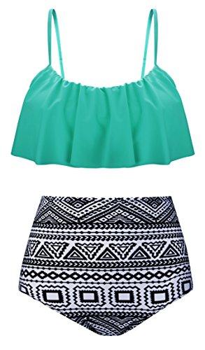Aixy Damen Vintage Niedlich Ruffles Strap Bademode Crop Top Flounce Hohe Taille Bikini Set Badeanzug, , Grün - EU46-48=Tag Size 5XL