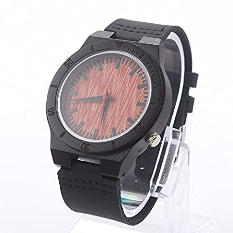 Men's Wristwatch Wooden Watches Unisex Retro Fashionable Bamboo Wood Watch with Japan Movement Quartz and Genuine Cowhide Leather Band Casual Watches(ebony)