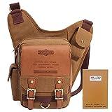 Men's Shoulder Messenger Bag, Retro Canvas Leather Pack for School, Business, Travel by KAUKKO