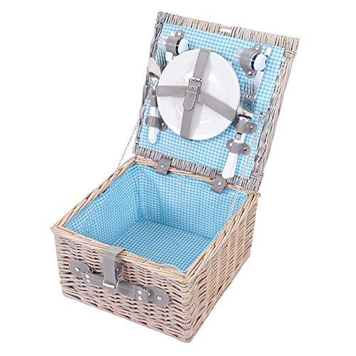 Mendler Picknickkorb-Set für 2 Personen, Picknicktasche Weiden-Korb, Porzellan Edelstahl, Blau