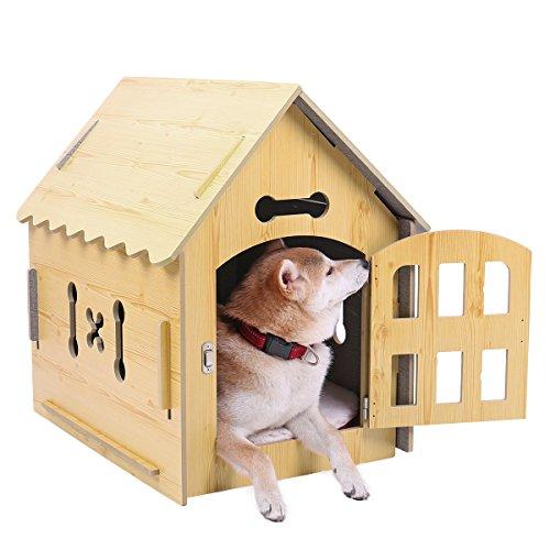 PAWZ Road Natura Hundhütte Hundehaus Indoor Katzenhaus Tierhaus Kuschelhöhle für Katzen Hunde Welpen Kätzchen Kaninchen oder Kleintier Spitzdach 64.5 * 45 * 64.5 cm