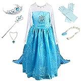 Prinzessin Kostüm Kinder Glanz Kleid Mädchen Weihnachten Verkleidung Karneval Party Halloween Fest (110 (Körpergröße 110cm), Elsa #01 und 4 Zubehör)