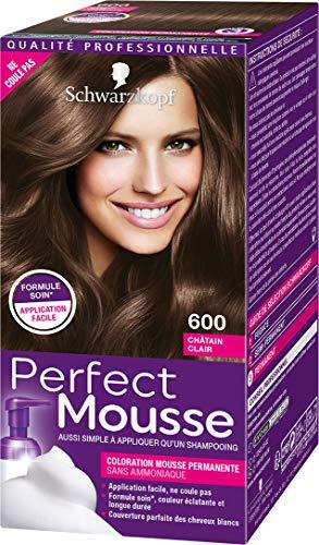 Schwarzkopf - Perfect Mousse - Coloration Cheveux Mousse Permanente sans Ammoniaque - Châtain Clair 600