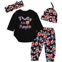Ropa Bebe niña Talla 0 Meses,(0-24M) bebé araña Ropa en línea + Pantalones + Toalla de Saliva + Sombrero Traje de Halloween 4 Piezas,Negro,70-100