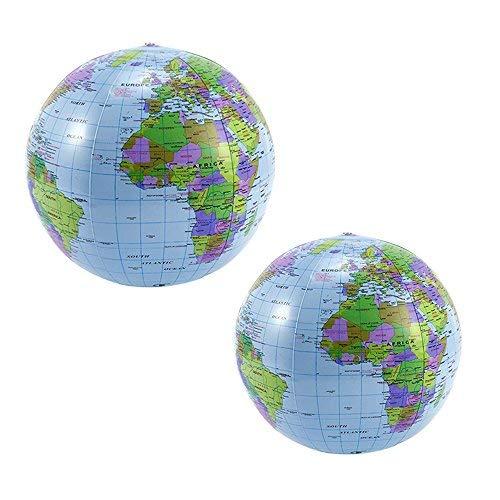 2PCS 40,6cm PVC Aufblasbare Blow Up World Welt Beach Ball Globe für Partytüten