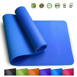 Sosila Yogamatte, TPE, ECO Gymnastik Matte, rutschfest, umweltfreundlich, hypoallergen und hautfreundlich, ideal für Yoga, Pilates und Fitness, mit Tasche und Trageband, 183 x 61 x 0,8 cm (Himmelblau)