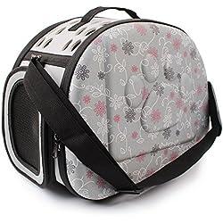 Al Aire Libre Respirable Plegable Bolsa para Mascotas para Perro Gato Cómodo Viaje Talla Mediana Portador de Mascotas (gris)