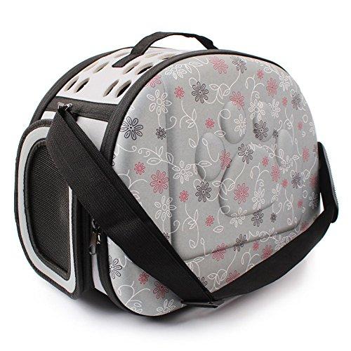 Yimidear Al Aire Libre Respirable Plegable Bolsa para Mascotas para Perro Gato Cómodo Viaje Talla Mediana Portador de Mascotas (Gris)
