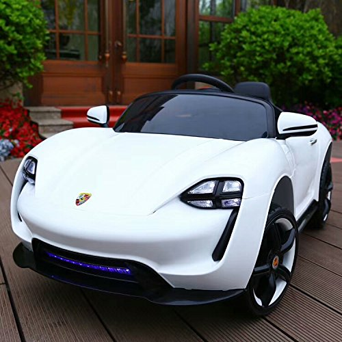 Dual Mode Kids Ride ON Porsche Mission E Style Electric Children 12V Battery Remote Control Toy CAR | Swaying & Drive | Doors Opened | Finest Quality Design Painted & 2X Motor (White)