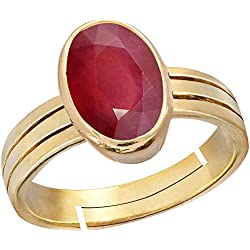 Gemorio Ruby Manik 4.8cts or 5.25ratti stone Panchdhatu Adjustable Ring For Men