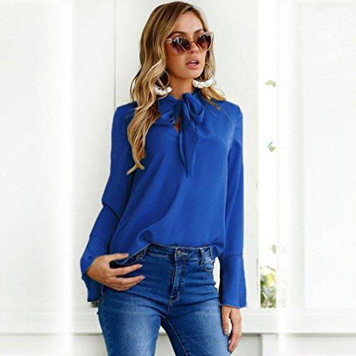 Bonjouree Pull Chic Femme Chemisier Manche Longue Top Blouse Bleu