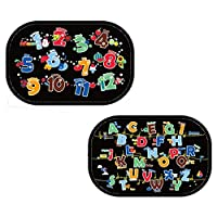 Sotoboo Kids Sunshade for Car Windshield - Car Sun Shade Side and Rear Window Protectors With Number And Alphabet Puzzle Pattern for Children | Keep Kids Cooler | Flexible Light-blocking Sun Shades