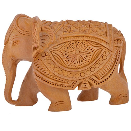 wooden handicraft home decor elephant showpiece by rajkruti- 4 inch (12 cm * 5 cm * 10 cm , Brown)