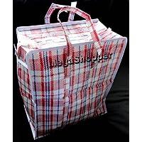 Lot de 10 cabas en plastique avec fermeture de sacs à linge - 34 cm x 40 cm x 18 cm