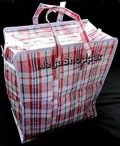 Veekay Lot de 10 cabas en plastique avec fermeture éclair Petit format 34x40x18cm