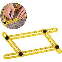 ofoen ángulo herramienta, multi-ángulo de medida regla multifunción plantilla regla de medición angleizer plantilla herramienta para ingeniero constructores artesanos amarillo