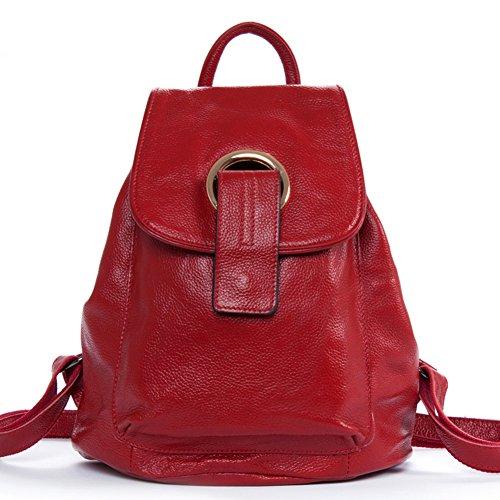 DRF Rucksack Leder Damen Schule Daypack mit Metallkreis Deko #BG-122 (Rot)