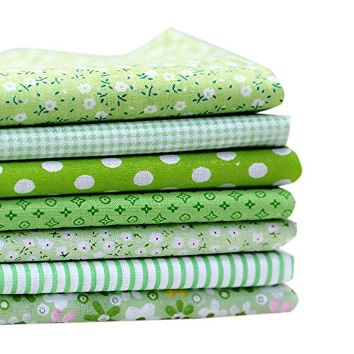 Souarts 6PCS Mixtes Textile Tissu Coton Motif Fleur pour DIY Patchwork Artisanat Couture Rose 50cmx50cm