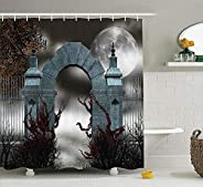 Gothic Decor Collection Scary Medieval Middle Age Stone Gate with Fog Full Moon and Ivy Dark Night Theme Artwo