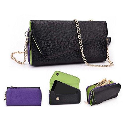 Kroo d'embrayage portefeuille avec dragonne et sangle bandoulière pour Allview Viper V1/X2Soul Mini Multicolore - Black and Green Multicolore - Black and Purple