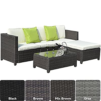 Costway Garden Furniture Set Rattan Chairs Sofa Table Outdoors Conservatory Patio Wicker Group